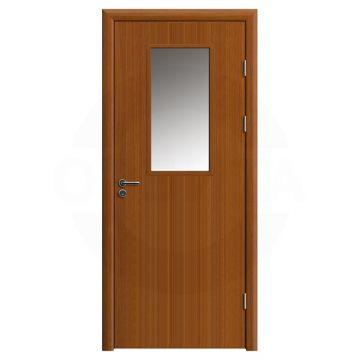 Дверь противопожарная деревянная со стеклом одностворчатая (экошпон) серия огнес модель 03
