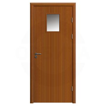 Дверь противопожарная деревянная со стеклом одностворчатая (экошпон) серия огнес модель 05