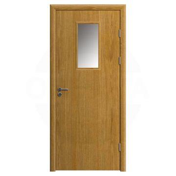Дверь противопожарная деревянная со стеклом одностворчатая (шпон) серия огнес модель 04