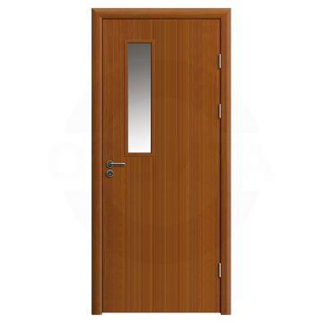 Дверь противопожарная деревянная со стеклом одностворчатая (экошпон) серия огнес модель 01