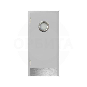 Дверь серая Kapelli маятниковая с мет. иллюминатором