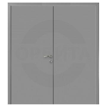 Дверь серая RAL7040 пластиковая двустворчатая Моноколор гладкий
