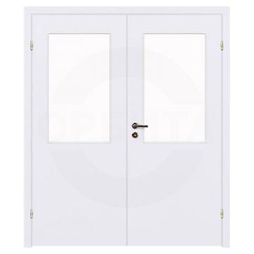 Дверь окрашенная двухстворчатая под 1 стекло Olovi