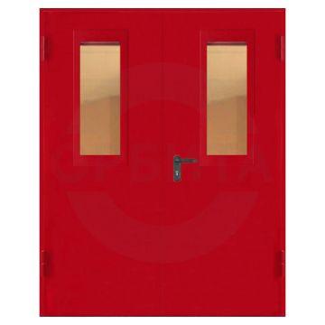 Дверь противопожарная металлическая двухстворчатая со стеклом