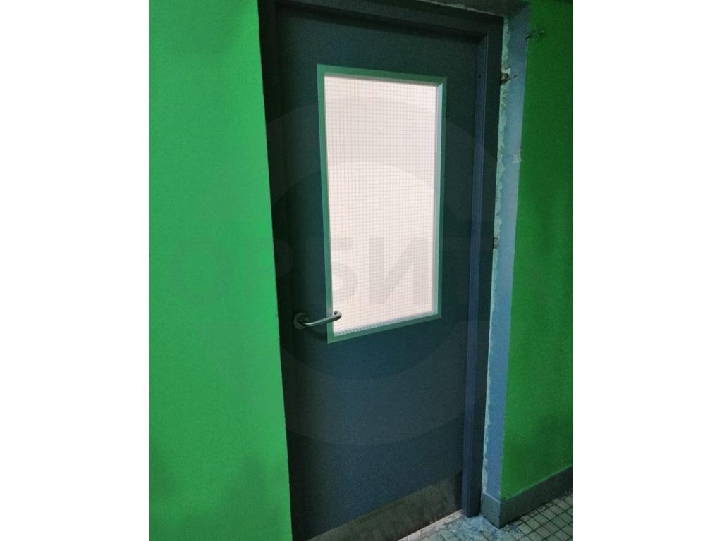 Дверь пластиковая KAPELLI-Classic Моноколор c  армированным стеклом, отбойной пластиной и усилением под доводчик