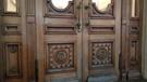 Двери из массива дуба с боковыми и верхними остекленными фрамугами (МХАТ, Москва)