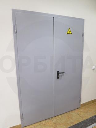 Дверь металлическая двустворчатая (двупольная) противопожарная (огнестойкая), EI 60. Цвет RAL 7035. Производство: г.Клин, Россия