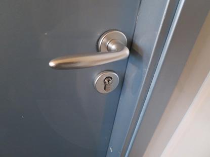 Серая облегченная офисная дверь финского типа, Д.Крафт