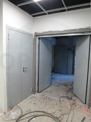 Металлическая противопожарная дверь EI60 RAL 7035