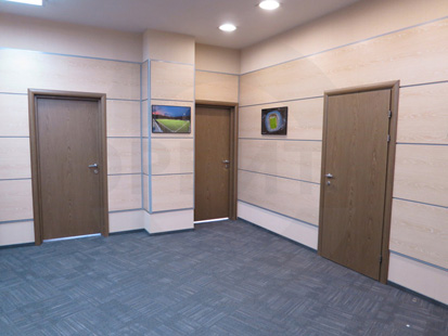 Офисная усиленная шумоизоляционная дверь (38 db). Заполнение: экструдированное ДСП. Покрытие: CPL в цвете орех. Производство: Россия, Санкт-Петербург, «Д.Крафт».