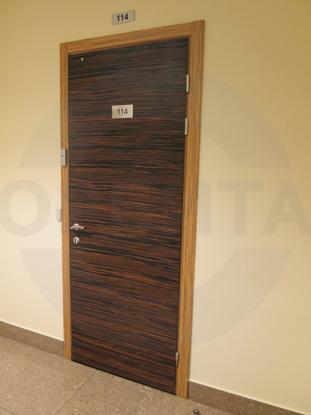 Усиленная офисная дверь, облицованная натуральным шпоном Орех
